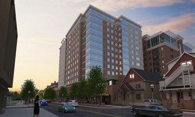 A rendering of the approved ArborBLU high-rise on Church Street, which is slated to open in fall 2015.