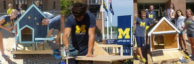 """U-M athletes compete to build the best """"Doggie Dream House"""" in a fundraiser, with funds to support Habitat for Humanity Huron Valley and the Humane Society of Huron Valley."""