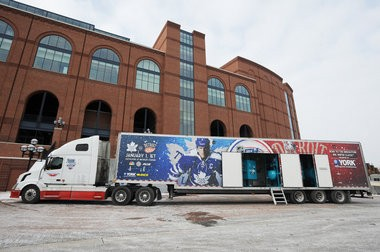 The NHL Winter Classic ice truck sits outside of Michigan Stadium after driving in from Toronto, Canada.