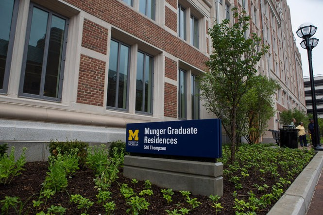 The first floor of the new University of Michigan Munger graduate dorms include lounge rooms, bike rack rooms, a music room and various study rooms July 17, 2015. The $155 million project will wrap up just before the 2015-16 school year.