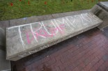"""""""Trump 2016"""" is chalked on a bench, and then crossed out to read """"Drumf,"""" on the University of Michigan's Diag on Thursday, April 7, 2016. Allison Farrand   The Ann Arbor News"""
