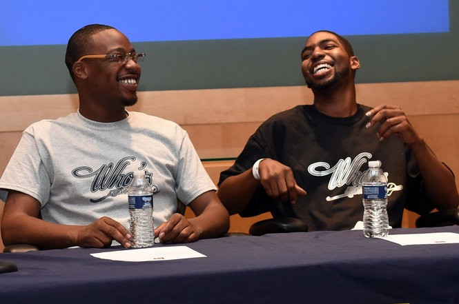Domonique Larkin, left, jokes around with his brother Stan check as they sit together before they speak at the Michigan Frankel Cardiovascular Center on Thursday, May 26, 2016. Both Larkin brothers were born with a form of cardiomyopathy and have both received heart transplants. Melanie Maxwell   The Ann Arbor News