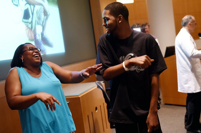Voncile McCrae jokes around with her son Stan Larkin at the Michigan Frankel Cardiovascular Center on Thursday, May 26, 2016. Both Larkin brothers were born with a form of cardiomyopathy and have both received heart transplants. Melanie Maxwell   The Ann Arbor News