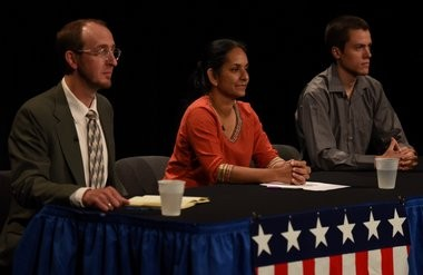 1st Ward candidates for Ann Arbor City Council at the League of Women Voters forum on Tuesday, July 12, 2016. From left, Jason Frenzel, Sumi Kailasapathy and Will Leaf.