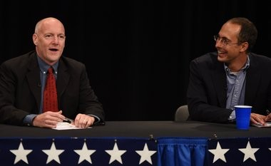 Kevin Leeser, left, and Chuck Warpehoski, both 5th Ward candidates for Ann Arbor City Council, at a forum hosted by the League of Women Voters on Wednesday, July 13, 2016.