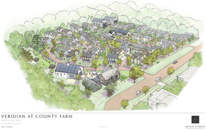 The proposal from THRIVE Collaborative and its partners, including Avalon Housing, for the county-owned property at 2270 Platt Road next to County Farm Park in Ann Arbor.