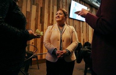 Ann Arbor Public Schools Superintendent Jeanice Swift speaks with attendees at an election party at the Pretzel Bell restaurant on Tuesday, May 2, 2017. Hunter Dyke | The Ann Arbor News
