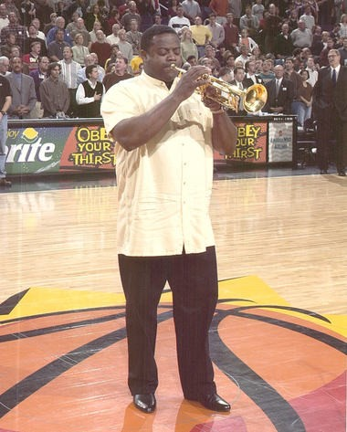 Jesse McGuire playing the national anthem at Phoenix Suns vs LA Lakers NBA game in 2003.