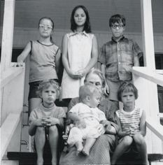 The Sedaris kids in younger days, clockwise from top left: Gretchen, Lisa, David, Tiffany, Paul, and Amy.
