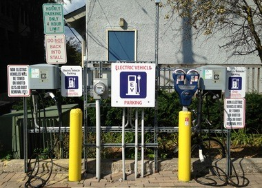 The charging stations installed at the Fourth and Catherine surface lot in Kerrytown were purposefully located in the far northwest corner to maximize sun exposure. That's because the DDA wants to put up a carport with solar collectors to make it a solar charging station.