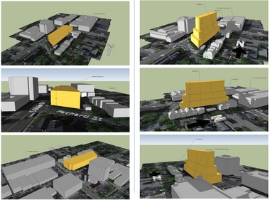 The three images at left show what the south side of William Street between Main Street and Fourth Avenue could look under D2 zoning. The images at right show what it could look like under D1 zoning with increased step-backs/diagonals on the buildings.