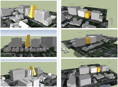 """The three images at left show what the north side of Huron Street between Division and State could look like under D1 zoning with increased step-backs/diagonals on the buildings. The images at right show what could happen under a """"hybrid D1.5"""" district."""