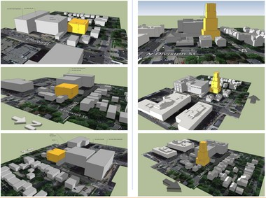 The three images at left show what could happen on Ann Street next to city hall under D2 zoning. The images at right show D1 zoning with increased step-backs/diagonals on the buildings.