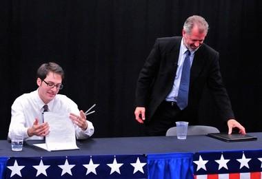 Sam DeVarti, left, and Stephen Kunselman, at a candidate forum.