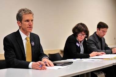 From left to right, Kirk Westphal, Jane Lumm and Conrad Brown appear at a candidate forum.