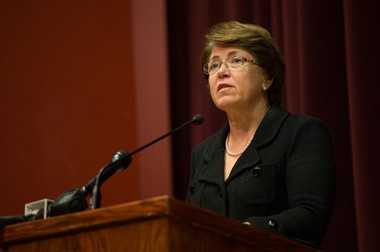 Eastern Michigan University President Susan Martin addresses students during a community forum at EMU's Student Center Auditorium regarding EMU football player Demarius Reed. Demarius Reed was found dead from a gunshot wound in an Ypsilanti apartment building early Friday morning, Oct. 18.