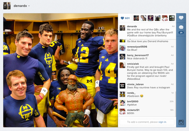 University of Michigan quarterback Denard Robinson posted this photo on Instagram after the Wolverines' win against the Spartans on Oct. 20, 2012.