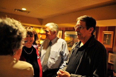 Fourth Ward council member-elect Jack Eaton, right, at Lumm's campaign party Tuesday night.
