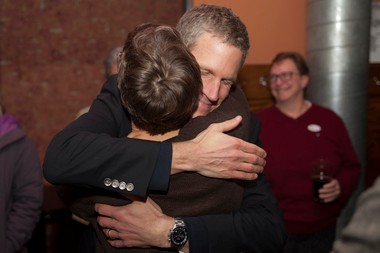 Kirk Westphal, who lost in the 2nd Ward race, makes his way around a private room at Arbor Brewing Co., thanking supporters for all their help.
