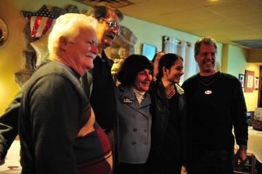 From left to right, Mike Anglin, Jack Eaton, Jane Lumm, Sumi Kailasapathy and Stephen Kunselman at Paesano's restaurant Tuesday night.