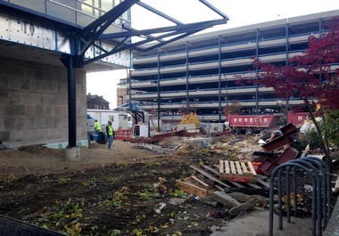 The site of the old Blake Transit Center in downtown Ann Arbor as it looked on Friday afternoon.