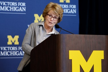 """University of Michigan President Mary Sue Coleman speaks during a press conference to announce the """"Victors for Michigan"""" fundraising campaign at Hill Auditorium on Thursday, Nov. 7, 2013, in Ann Arbor, Mich. The campaign, with an ambitious fundraising goal of $4 billion, is the sixth such effort undertaken by the university since 1948."""