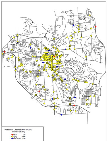 Car-pedestrian crashes from 2005 to 2012 by crash severity. The map shows five fatal crashes in red, 368 crashes with injuries in yellow, and 24 non-injury crashes in blue.
