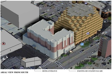 Aerial view from south showing hotel entrance on Ashley and ground-floor retail and preservation of existing bus facade on Huron.