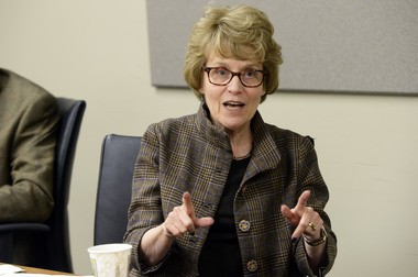 Mary Sue Coleman speaks during a meeting with The Ann Arbor News editorial board on Wednesday, Jan. 8, 2014. Coleman said she was deeply affected by the concerns raised by students in the Being Black at University of Michigan movement.