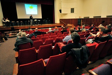About 40 residents attended a recent public meeting at Slauson Middle School to discuss Ann Arbor's footing drain disconnection program.