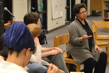Barbara Ransby, a University of Illinois professor, talks to U-M students late Tuesday night during an intimate teach-in session.