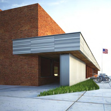One of the initial sketches from InForm Studio showing what the downtown Ann Arbor library could look like with a redesigned front entrance.