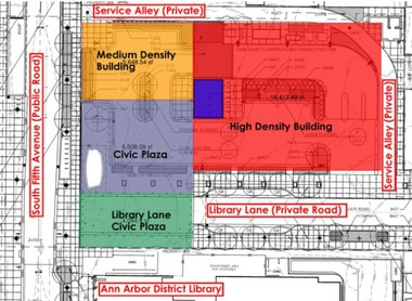 This map shows the Library Lot broken into three main areas. The red space is where the city anticipates future development. The purple space is where at least a 6,500-square-foot plaza or park will go. The question that remains is whether the orange space also will be part of that plaza or park.