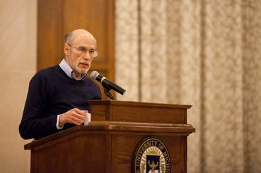 Michigan Professor Victor Lieberman gives a historical overview of the Israeli-Palestinian conflict during Tuesday night's meeting.