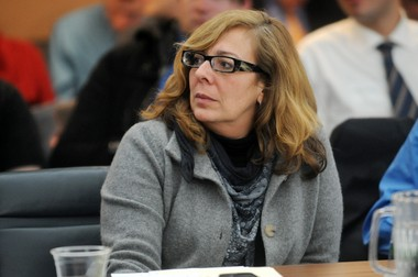 Lisa Rudgers during a Board of Regents meeting at the University of Michigan.