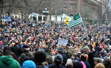 The scene at Hash Bash last year. The event attracts thousands of people every year.