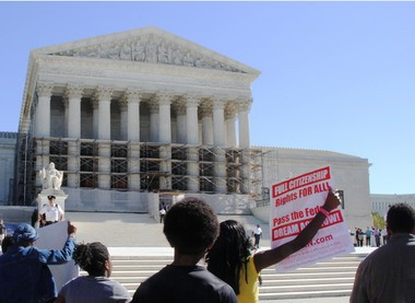 Michigan students arrive at the U.S. Supreme Court in October 2013 to rally for affirmative action.