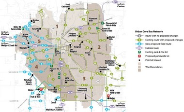 Proposed improvements in the Ann Arbor area.