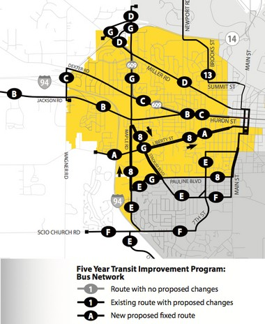 A look at the new proposed west side Ann Arbor routes.