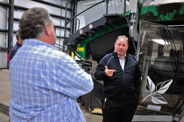 Michael Nicholson, senior vice president of WeCare Organics, gives a tour of the city's compost center on Thursday.