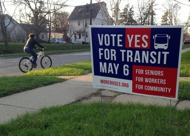 One of the many More Buses campaign signs that can be found scattered throughout Ann Arbor, Ypsilanti and Ypsilanti Township.