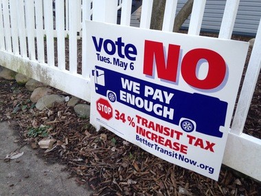 Better Transit Now has signs scattered throughout Ann Arbor urging a no vote on Tuesday.