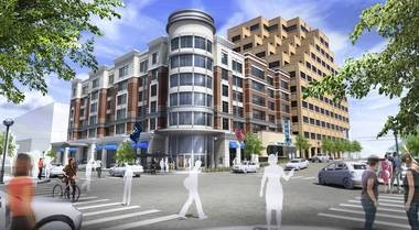 A rendering of the Residence Inn by Marriott being built in downtown Ann Arbor at the corner of Huron and Ashley Streets. The hotel will face Ashley Street while a restaurant is expected to occupy the first floor along Huron Street.