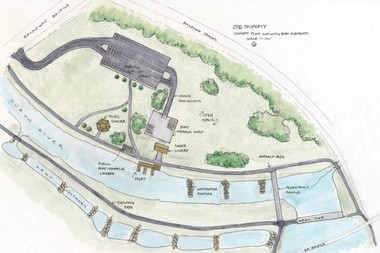 A hypothetical rendering of what a riverfront park with a new canoe livery could look like on the MichCon site in Ann Arbor. This was put forward by a citizen-led task force as one idea for the site.