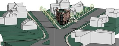 A rendering of the 544 Detroit St. flatiron-style building.