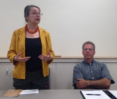 Ann Arbor mayoral candidates Sabra Briere and Stephen Kunselman at Saturday's forum.