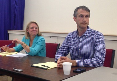 Ann Arbor mayoral candidates Sally Hart Petersen and Christopher Taylor at Saturday's forum.