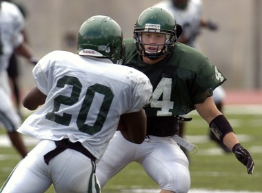 Former Eastern Michigan University football player Daniel Holtzclaw (No. 44) was arrested for the alleged sexual assault of seven women while he was an on-duty police officer in Oklahoma City. Holtzclaw attended EMU on a football scholarship from 2005 to 2008 and was a Freshman All-American at the linebacker position. He is a 27-year-old native of Enid, Oklahoma.