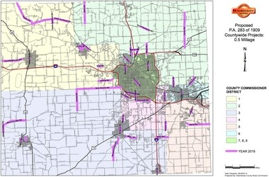 A full map of the road projects that will be undertaken by the Washtenaw County Road Commission and other municipalities using funding from the new tax.