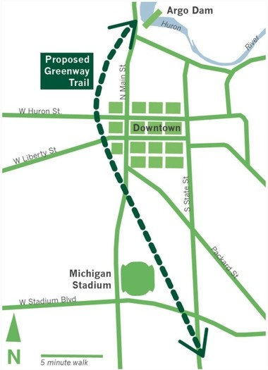 """The latest map from the """"Green the Way"""" project showing the Allen Creek greenway trail path."""